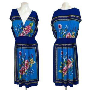 En Focus Blue Floral Surplice Slinky A-Line Dress